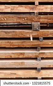 Lumber yard, wooden boards