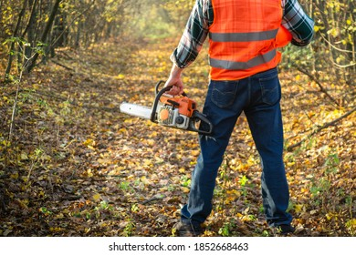 Lumberjack is dressed in protective gear and a chainsaw in his hand standing on forest road