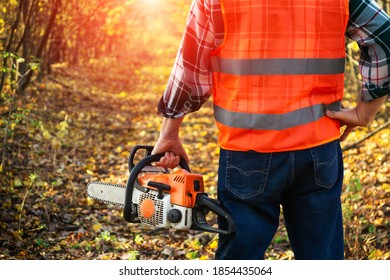 Lumberjack is dressed in protective gear and a chainsaw in his hand standing on forest road at sunset