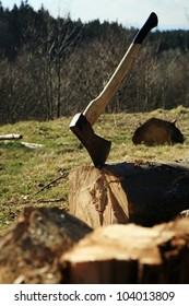 Lumberjack Equipment - ax. Chopping trees for firewood, country job