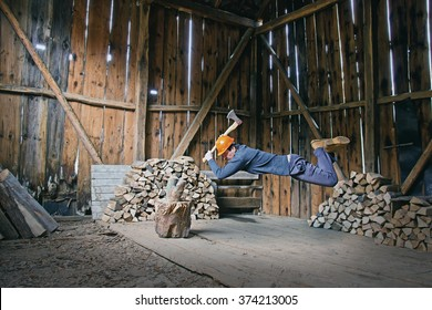 Lumberjack Levitating in Garden Shed with Axe