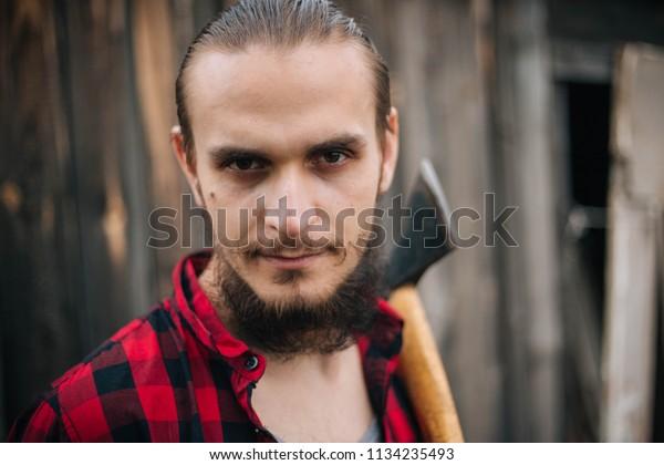 Pleasing Lumberjack Red Black Clothes Bearded Man Stock Photo Edit Now Natural Hairstyles Runnerswayorg