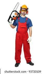 Lumberjack Worker in protective safety equipment With Chainsaw isolated