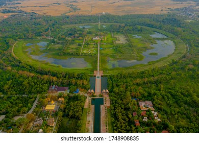 Lumbini, Nepal - Birthplace of Buddha Siddhartha Gautama International Temples Aerial view by drone.