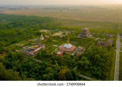 Lumbini, Nepal - Birthplace of Buddha Siddhartha Gautama International Temples Aerial view by drone.