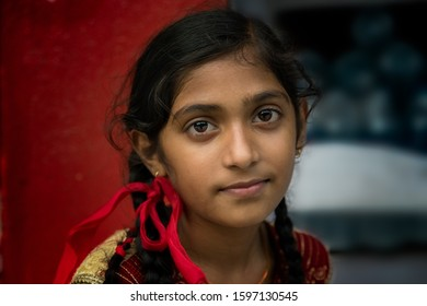 LUMBINI, NEPAL JUN 5, 2017: Portrait of Nepalese girl with beautiful eyes.