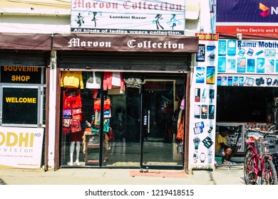 Lumbini Nepal November 1, 2018 View of a traditional Nepalese store in the main street of the old Lumbini in the afternoon