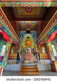 LUMBINI, NEPAL-February 18, 2017: Altar in Tashi Rabten Ling Monastery  at Lumbini, Nepal.