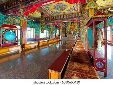 LUMBINI, NEPAL-February 18, 2017: InsideTashi Rabten Ling Monastery Center For Buddhist Monastic Studies at Lumbini, Nepal