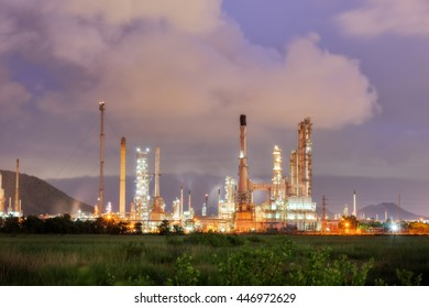 Luminosity of oil refinery plant, Twilight scene.