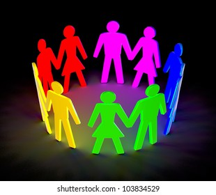 luminous figure of people pairs in a circle on a black background