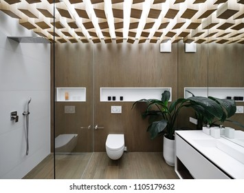 Luminous modern bathroom with design ceiling and wooden walls. There is a glass shower cabin with light tiled wall, white toilet, sink with a mirror, white niches, plant in the big pot. Horizontal.
