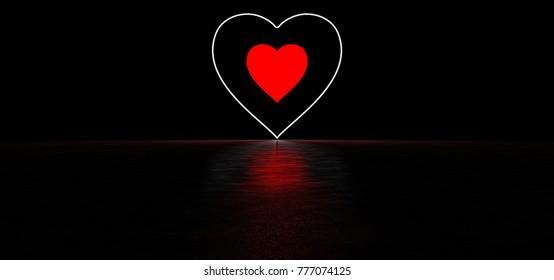 Luminous red heart in a dark space. 3D Render.