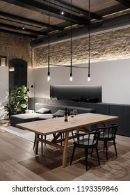 Luminous room in a loft style with brick walls, wooden ceiling and a parquet with a carpet on a floor. There is a long wooden table with black chairs, different lamps, window, gray sofa, green plant.