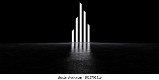 Luminous strips of different heights in a dark space. 3D Render