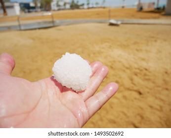 A lump of salt collected at Ein Bokek Beach in the Dead Sea