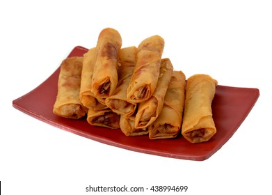 lumpia Semarang or Spring Rolls containing bamboo shoots and chicken on red plate at white background