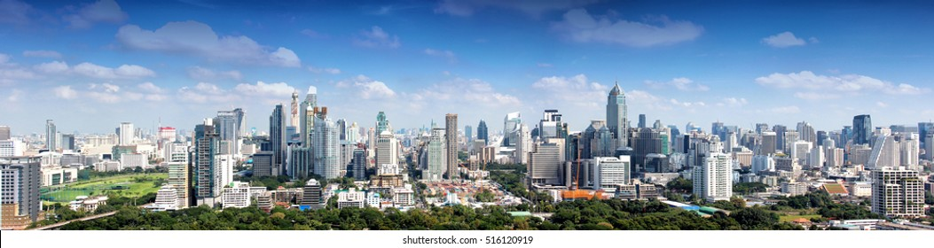 Lumpinee park and buildings landscape in Bangkok Thailand, Bangkok Landmark
