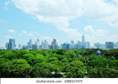 Lumpinee park with the view of city in Bangkok, a background of the city tower and the park in Bangkok, the view of office building and the park in Bangkok, forest in the city.