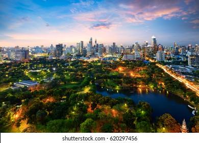 Lumpini park, The lungs of Bangkok city, Thailand