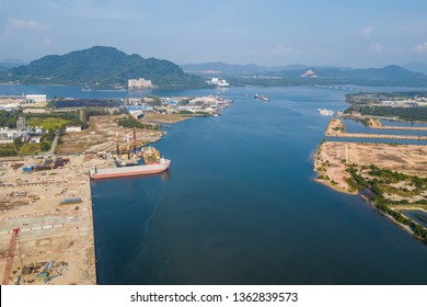 Lumut, Perak - Mar 2, 2019: Aerial view of a busy oil and gas construction yard in northern Malaysia, in Lumut Perak.
