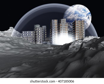 Lunar colony 3D Render