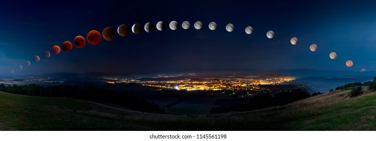 Lunar eclipse with bloody moon from its moonrise till moonset