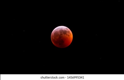 Lunar Eclipse creating a red hue or blood moon
