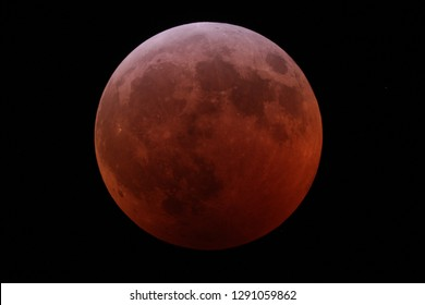 "Lunar eclipse of January 20-21, 2019 seen from Williamsburg Virginia. Taken through an 8"" SCT telescope. Known as the super blood wolf moon eclipse."