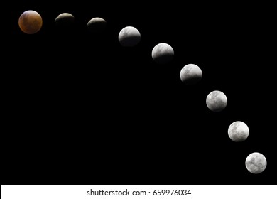 Lunar Eclipse sequence with 9 diferent sizes including a bloody moon