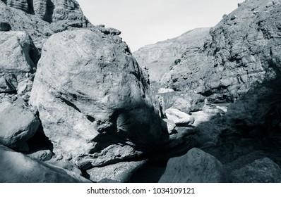 Lunar landscape of beautiful unknown Wadi in Jordan