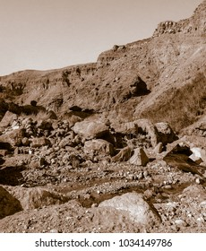 Lunar landscape of beautiful Wadi in Jordan