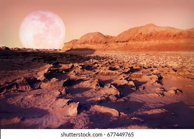 Lunar landscape in the Dasht-e Lut desert. The hottest place on Earth. Iran. Persia.