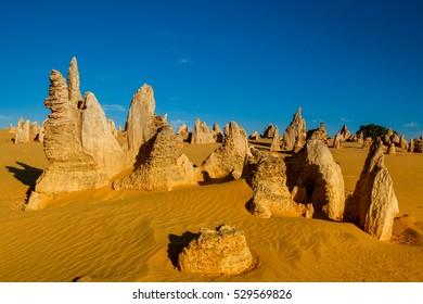 Lunar lanscape of the Pinnacles Desert at Nambung National Park, Western Australia, Australia