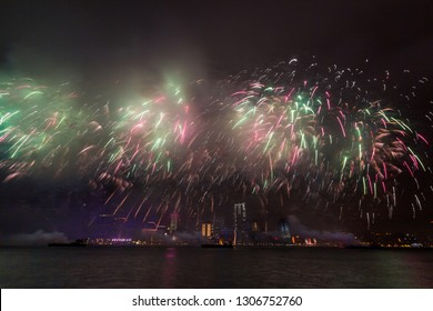 Lunar New Year Fireworks over Victoria Harbor in Hong Kong, China