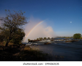 Lunar Rainbow over Victoria Falls as seen from above the Falls