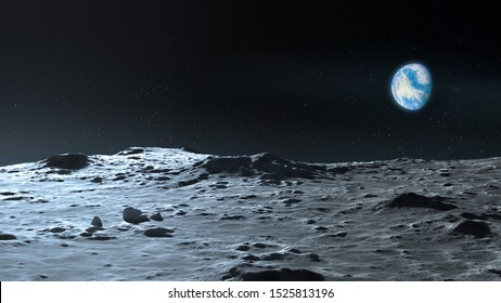 Lunar surface and Planet Earth