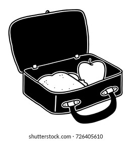 Lunch box black and white illustration