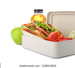 Lunch box with healthy food for schoolchild on white background