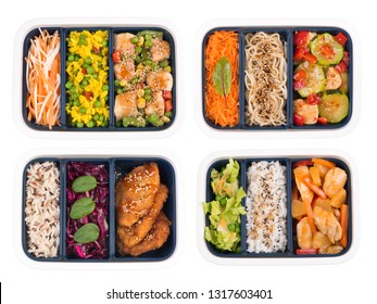Lunch boxes fulll of fresh delicious food isolated on white background, top view
