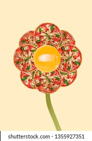 A lunch break. An alternative flower with egg in centre and petals as tasty pizzas with salami, meat, tomato or vegetables, chiken filett. Food concept. Modern design. Contemporary art collage.