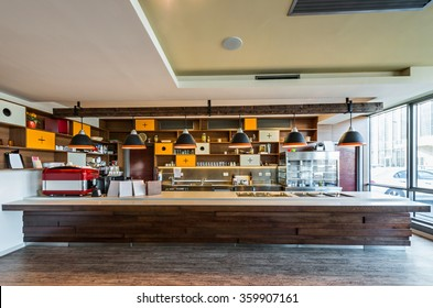Lunch counter at modern restaurant