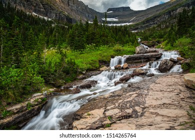 Lunch Creek Cascades on the Going-to-the-Sun Road in Glacier National Park, Montana