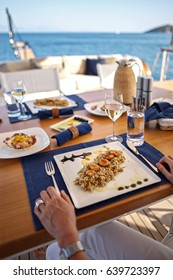 Lunch on Motor Yacht, Table Setting at a Luxury Yacht-Bodrum,Mugla -Turkey 12-07-2010