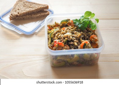 Lunch in a plastic container. Preform for transportation and storage in plastic containers.