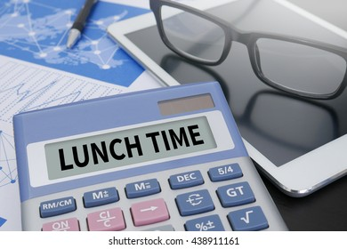 LUNCH TIME Calculator  on table with Office Supplies. ipad