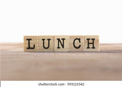 Lunch Word Written In Wooden Cube