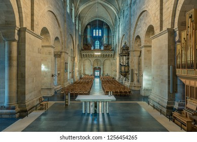 Lund cathedral, an interior HDR-photo of the altar and the nave, Lund Sweden, November 16, 2018