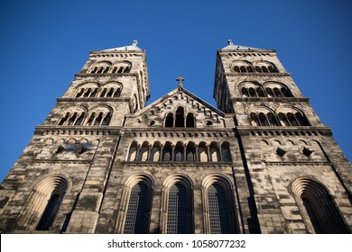 Lund Cathedral in Sweden, viewed from below