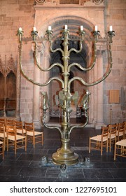 Lund, Sweden. 7 November 2018. The interior in the Lund Cathedral - 3,5m tall bronze candlestick.